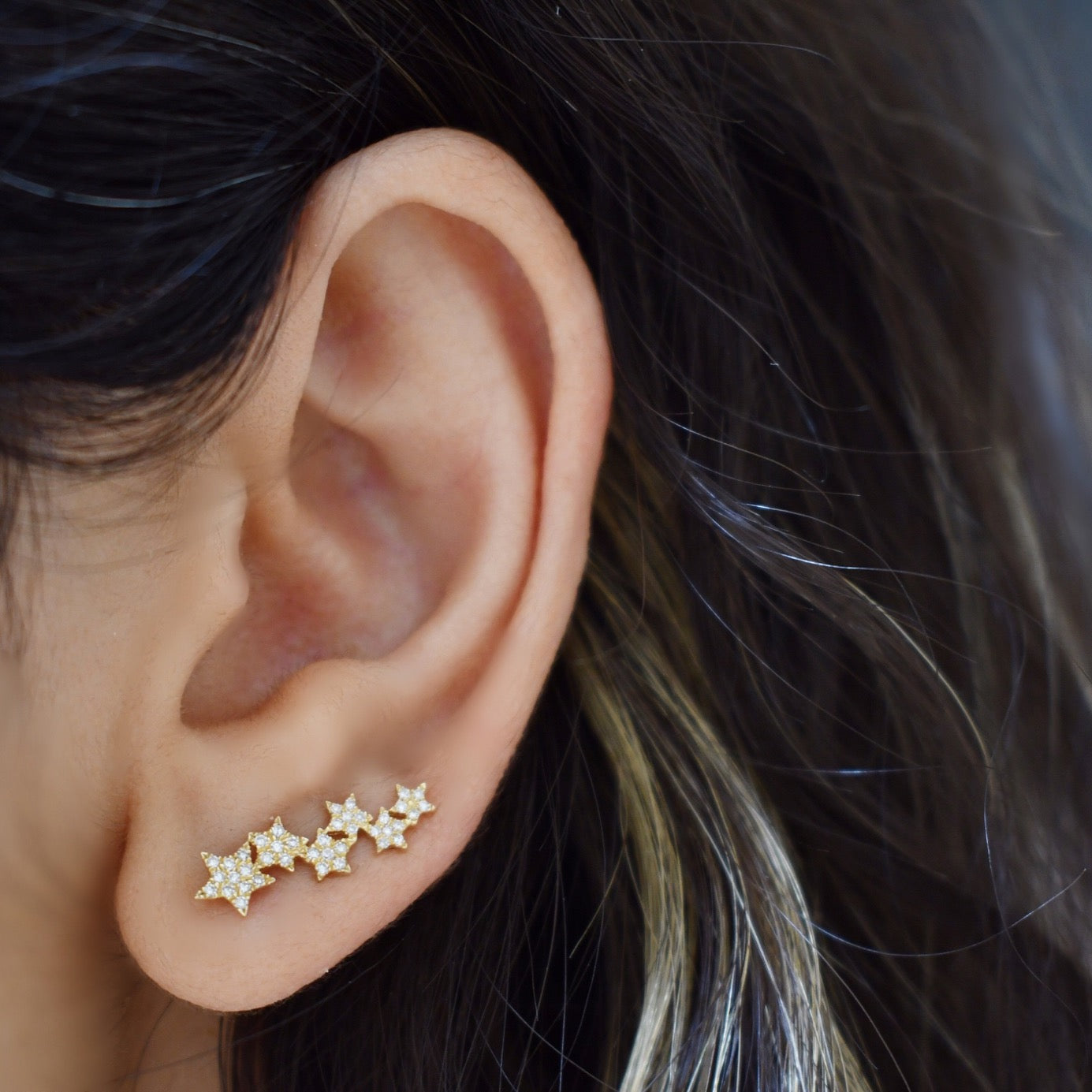 14k Yellow Gold Star Ear Climbers