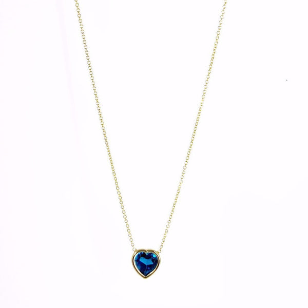 14k Gold London Blue Topaz Heart Necklace