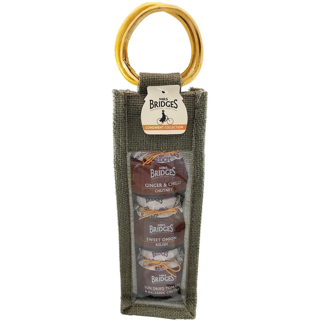 Tall Triple Condiment Jute Bag - 3 x 3.5oz Jars - The Scottish Grocer