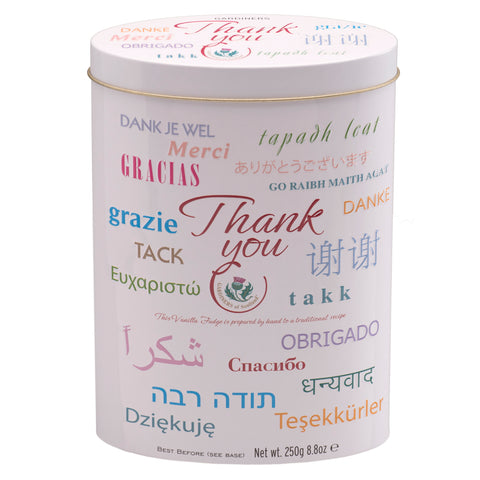 "Thank You Tin ""Languages"" - Vanilla Fudge -8.8oz"