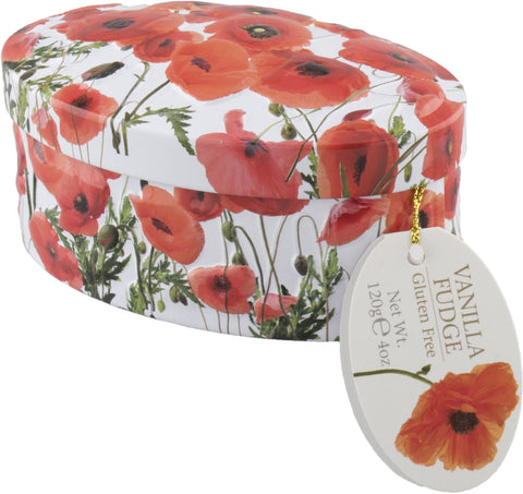 Poppy Flowers Vanilla Fudge Tin