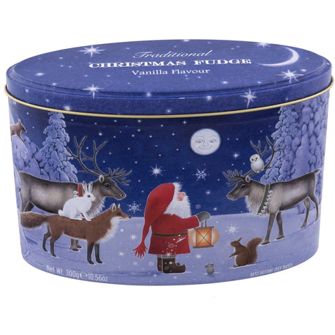 Christmas Santa and Moon Vanilla Fudge Tin