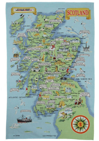 Map of Scotland Tea Towel / Wall Hanging
