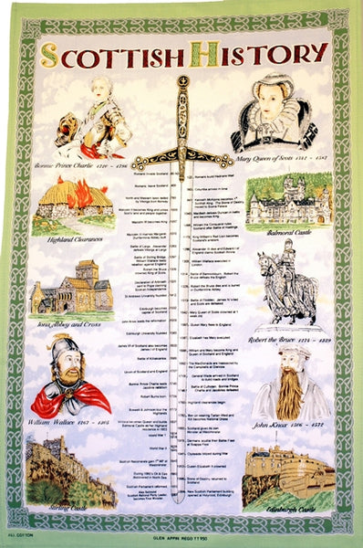 Scottish History Tea Towel / Wall Hanging