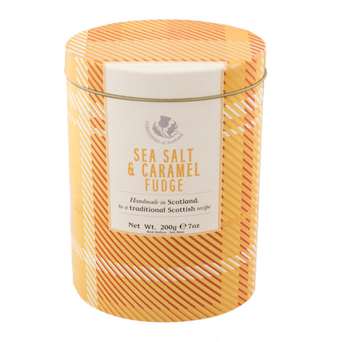 Sea Salt & Caramel Fudge Flavors Tartan Design Tin