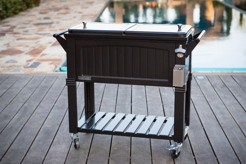 80 Qt. Antique Furniture Style Rolling Patio Cooler - Black