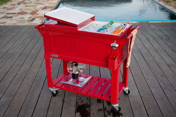80 Qt. Antique Furniture Style Rolling Patio Cooler - Red