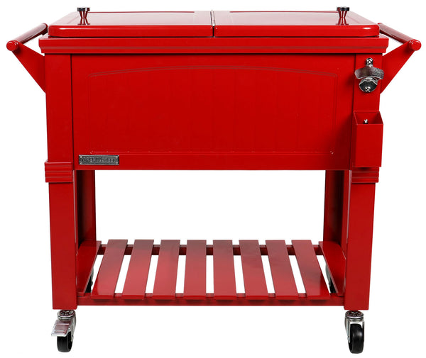 80 Qt. Rolling Patio Cooler Red Furniture Style