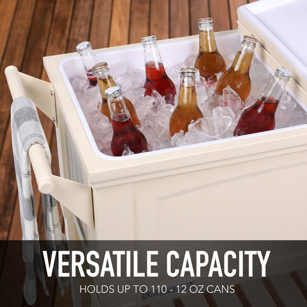 80 Qt. Antique Furniture Style Rolling Patio Cooler - Cream