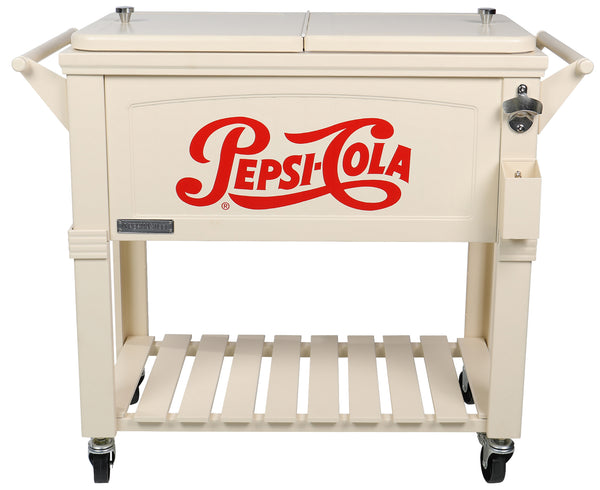 80 Qt. Rolling Patio Cooler Furniture Style Pepsi