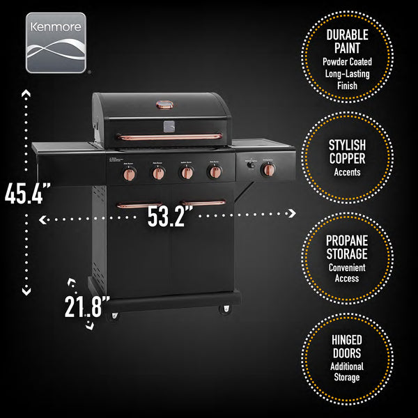 Kenmore 4 Burner plus Searing Side Burner All Black Grill with Copper Hardware