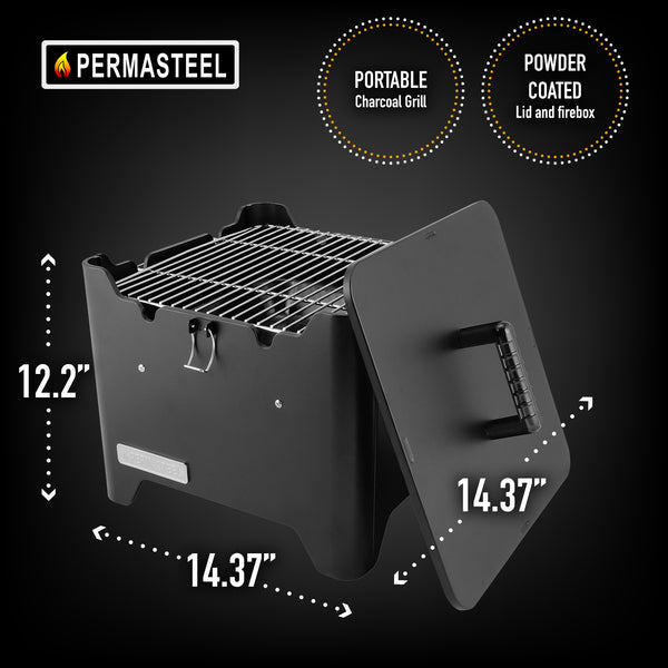 Permasteel Portable Square Charcoal Grill, Black