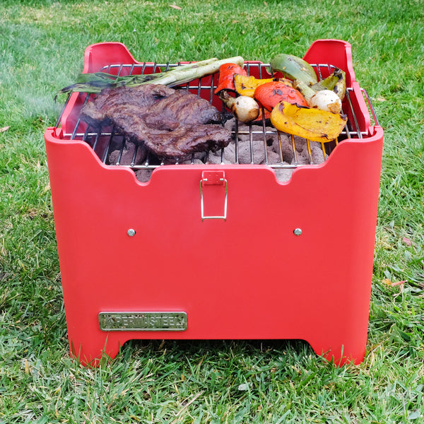 Permasteel Portable Square Charcoal Grill, Red