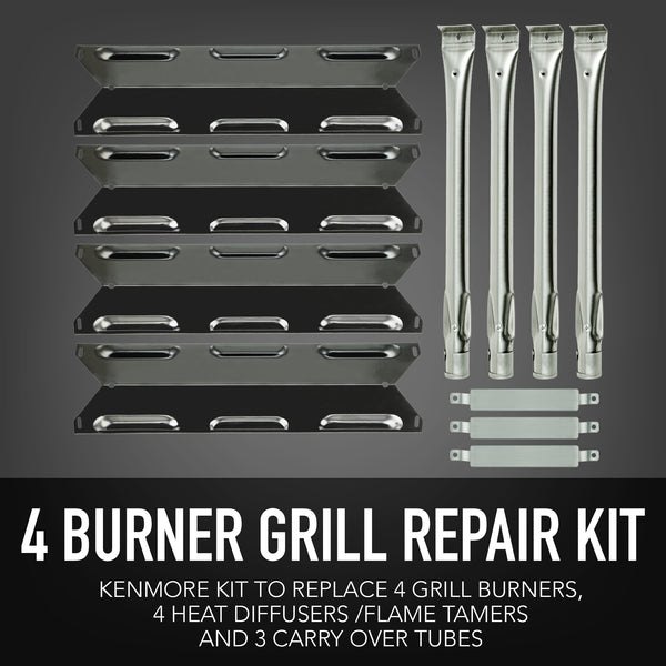 Permasteel Grill Parts Package for Kenmore 4 Burner Grill (Burners and Flame Tamers)