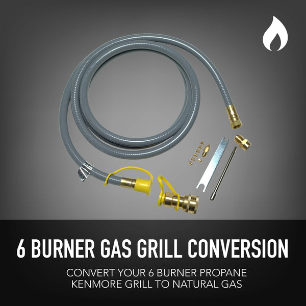 Permasteel Natural Gas Conversion Kit for Kenmore Grills 6-Burner + Side Burner + Rotisserie Burner
