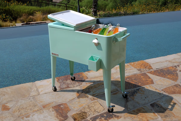 80 Qt. Rolling Patio Cooler - Mint