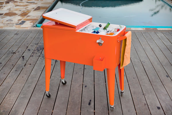 80 Qt. Rolling Patio Cooler - Orange