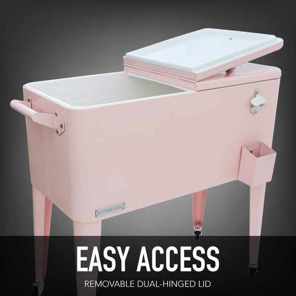 80 Qt. Rolling Patio Cooler - Pink