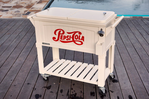80 Qt. Pepsi Antique Furniture Style Rolling Patio Cooler - Cream