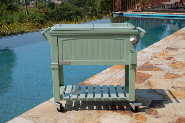 80 Qt. Antique Furniture Style Rolling Patio Cooler - Sage