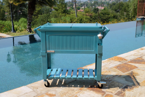 80 Qt. Antique Furniture Style Rolling Patio Cooler - Teal