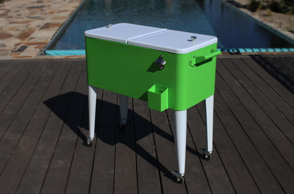 80 Qt. Rolling Patio Cooler Lime White