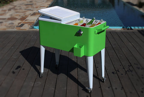 80 Qt. Two Tone Rolling Patio Cooler - Lime White