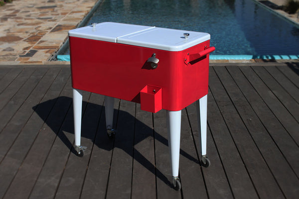 80 Qt. Rolling Patio Cooler Red White