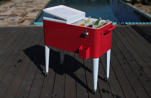 80 Qt. Two Tone Rolling Patio Cooler - Red White