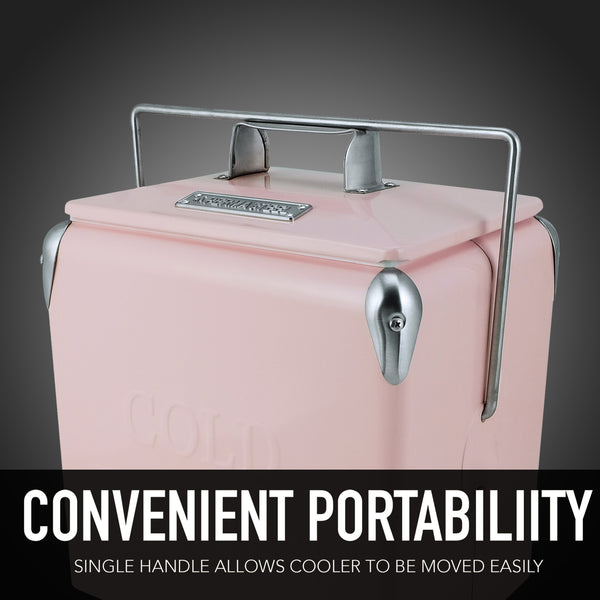 14 Qt. Retro Portable Picnic Cooler - Pink