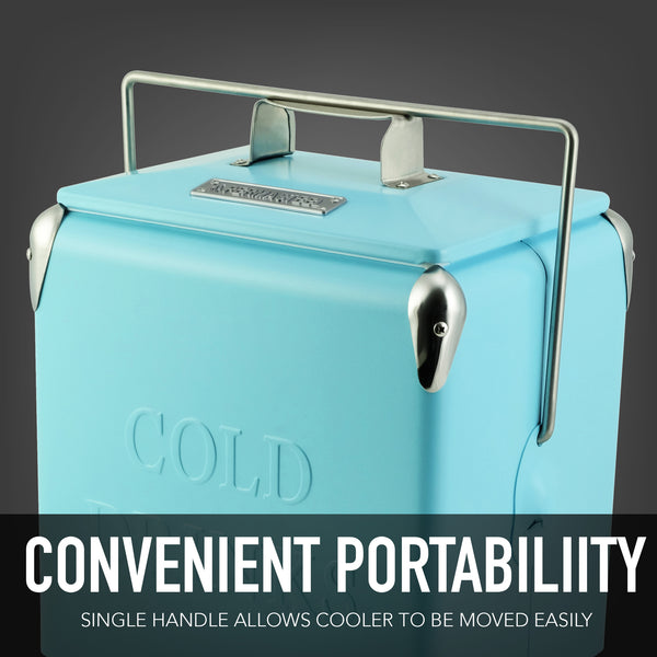 14 Qt. Retro Portable Picnic Cooler - Turq