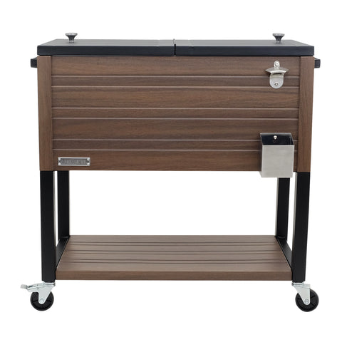 Permasteel 80 QT Rustic Furniture Style Patio Cooler with Bottom Shelf - Brown