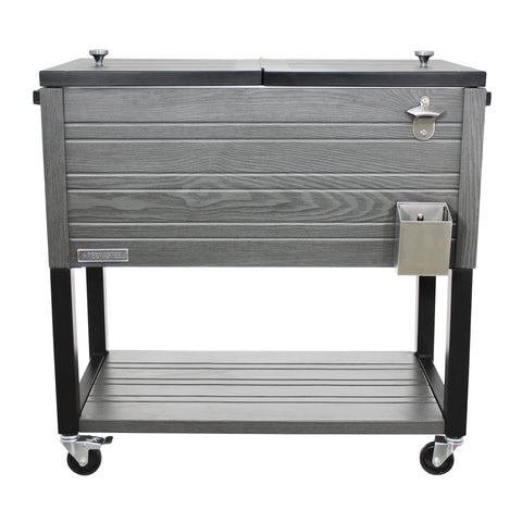 Permasteel 80 QT Rustic Furniture Style Patio Cooler with Bottom Shelf - Gray