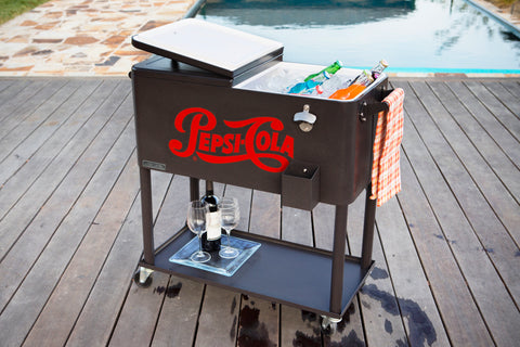 80 Qt. Rolling Patio Cooler with Bottle Tray - Pepsi