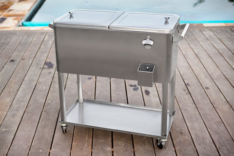 80 Qt. Stainless Steel Rolling Patio Cooler With Bottle Tray