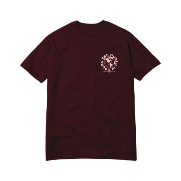 APT.4B Globe T-Shirt in Burgundy (front)