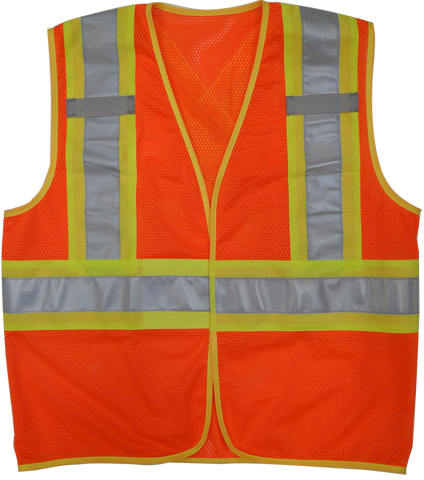 "Viking U6110 Open Road B.T.E. Mesh Economy Safety Vest with 4"" Safety Stripes"