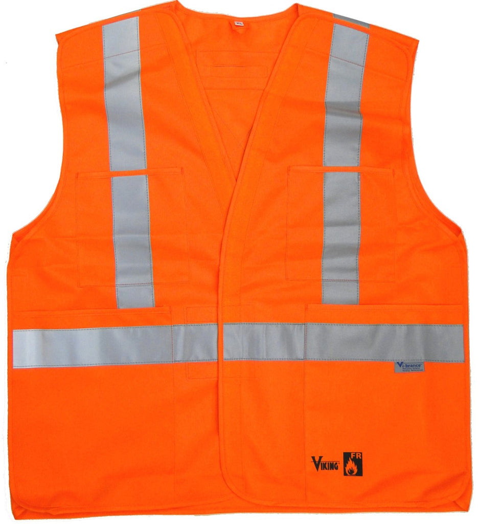 Viking 6136FR Hi-Viz Orange Fire Resistant 5 Point Tear Away Safety Vest