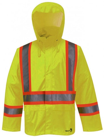 Viking 6055FRJG Flame Retardant 3M Lime Green PU Rainsuit Jacket. EA