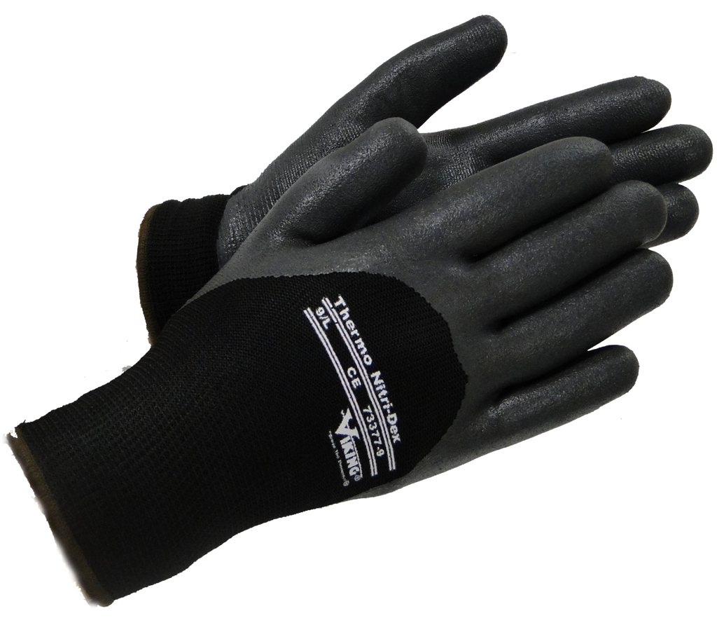 Viking 73377 Thermo Nitri-dex Black Work Gloves