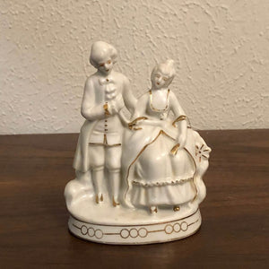 Vintage White and Gold Accent Man and Women European French Renaissance Figurine Made Japan 5""