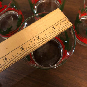 Vintage Christmas Holly Mistletoe Red Green Holiday Low Ball Glasses (4)
