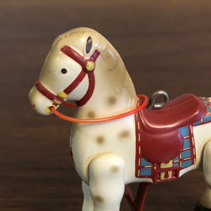Vintage Mechanical White Horse Christmas Tree Holiday Ornament