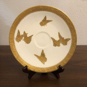 T&V Limoges Butterfly Plate Gilded Gold France Vintage