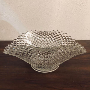 "Vintage Diamond Quilted Glass Fan Folded Wavy Fruit Bowl 8.5"" x 12"""