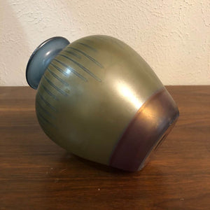 "MidCentury Modern Green and Blue Drip Glass Possibly Handblown Vase 7"" Tall"