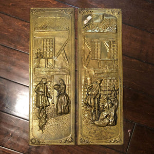 "Vintage Elpec Brass Repousse Embossed Panel English Tudor House Wall Plaque 7"" x 22"" Made in England"