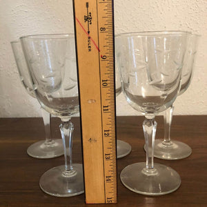 Vintage Tall Hand Cut Wine Glasses (Set 5)