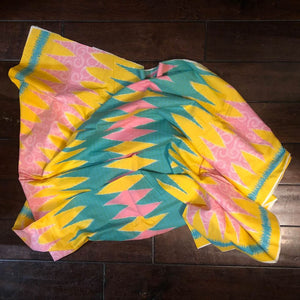 "Vintage Batik Vibrant Yellow Pink Green Geometric Tribal Boho Native Print Fabric 81.5"" x 44"""