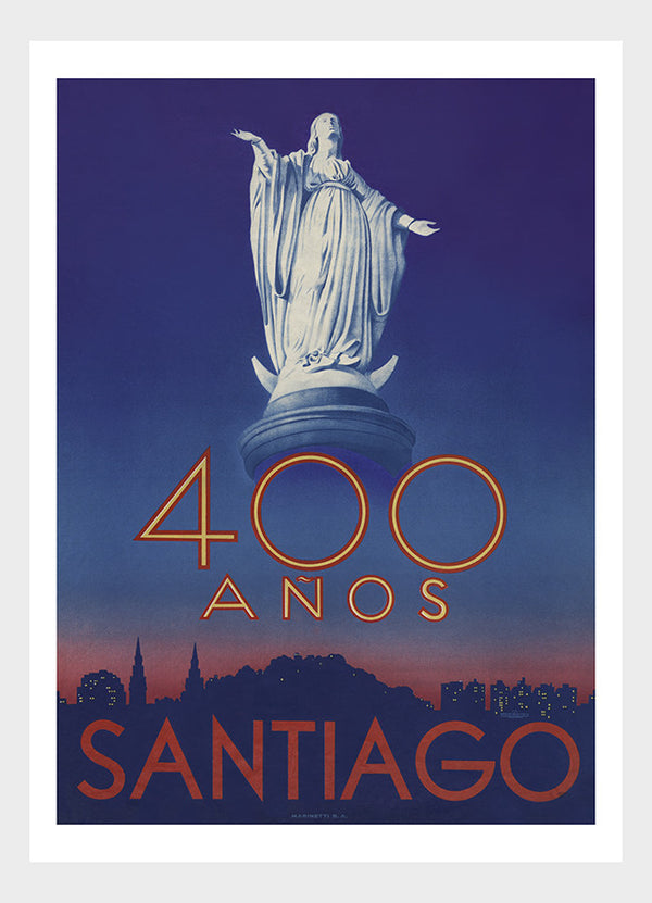 Chile 400 Years Santiago Travel Poster Digital Download